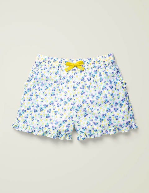Shorts mit gerüschtem Saum - Himmelblau, Vintage-Blumenmuster