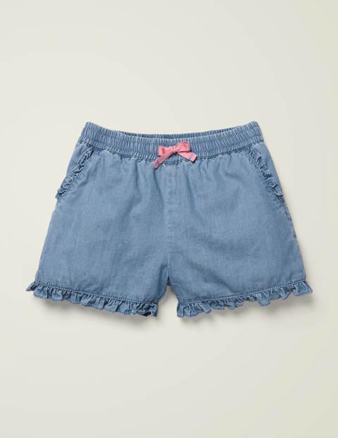 Frill Hem Shorts - Chambray