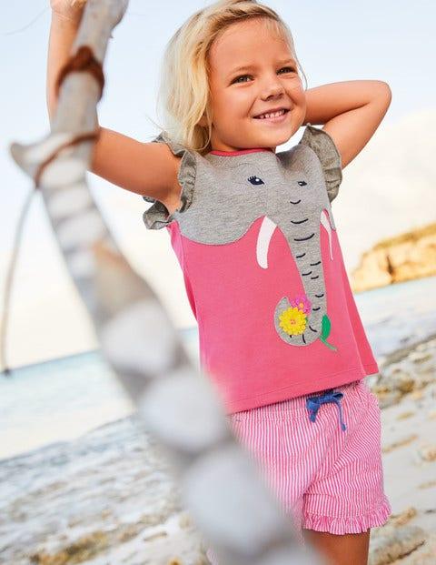 Flutter Appliqué T-Shirt - Bright Camellia Pink Elephant