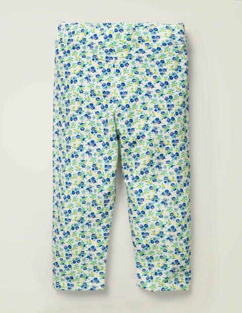Fröhliche Kurze Leggings - Himmelblau, Vintage-Blumenmuster