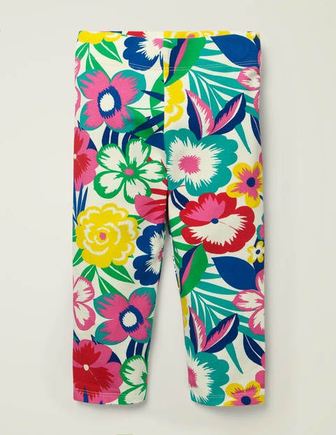 Fun Cropped Leggings - Multi Tropical Bloom