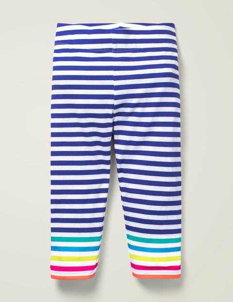 Fun Cropped Leggings - Bold Blue Multi Stripe