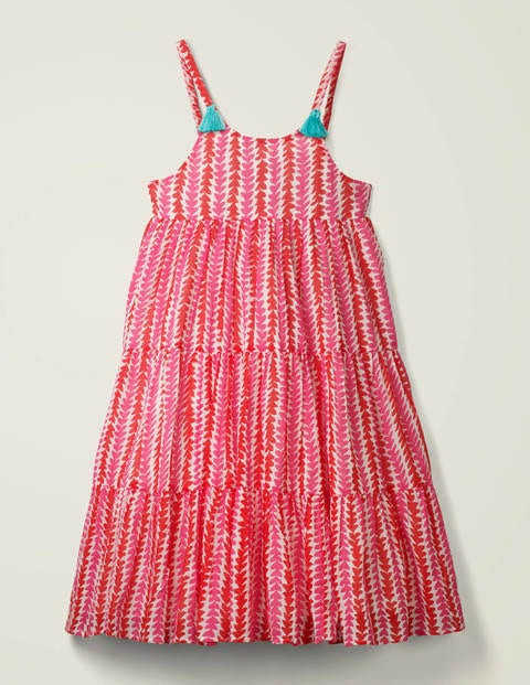Tiered Tassel Dress - Festival Pink Petal Arrow
