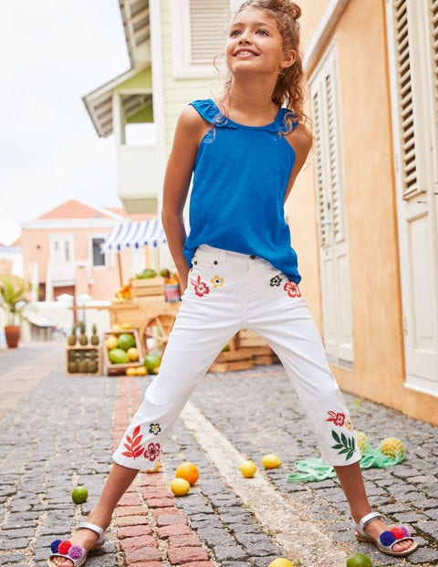 Embroidered Capri Pants