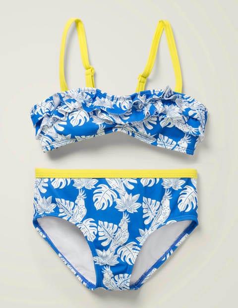 Frill Bikini Set - Blue Oasis Parakeet Palm