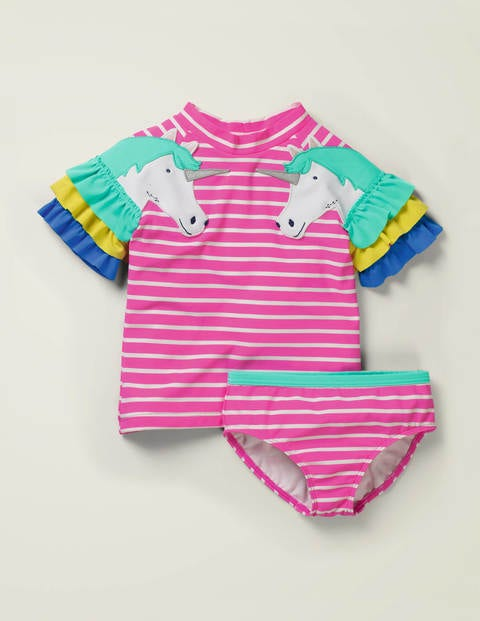 Novelty Rash Guard Set - Lily Pink/ Ivory Unicorns