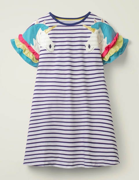 Flutter Sleeve Jersey Dress - Indigo Navy/ White Unicorn