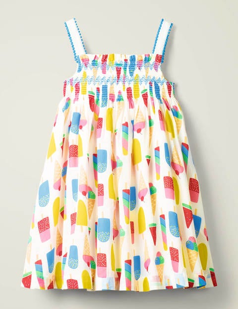 Pom Trim Print Dress - Multi Ice Creams