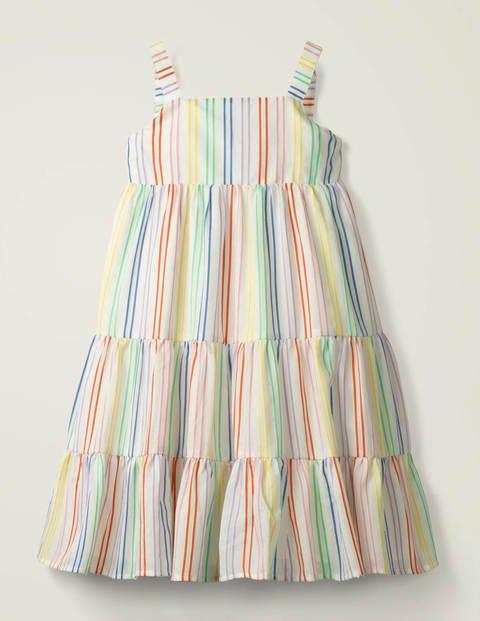 Gestreiftes Sommerkleid mit Stufen