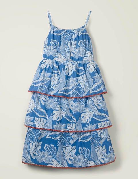 Tiered Woven Dress - Sky Blue Parakeet Palm