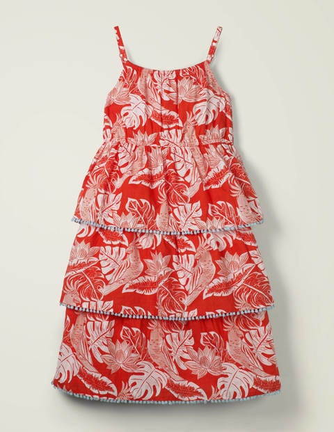 Tiered Woven Dress - Mallow Red Parakeet Palm