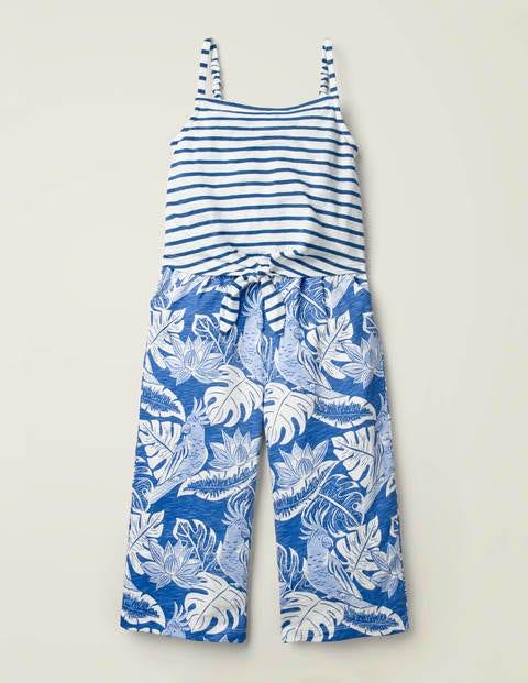 Tie Detail Jersey Jumpsuit - Sky Blue Parakeet Palm