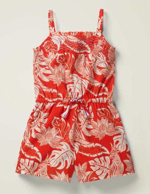 Easy Woven Romper - Mallow Red Parakeet Palm