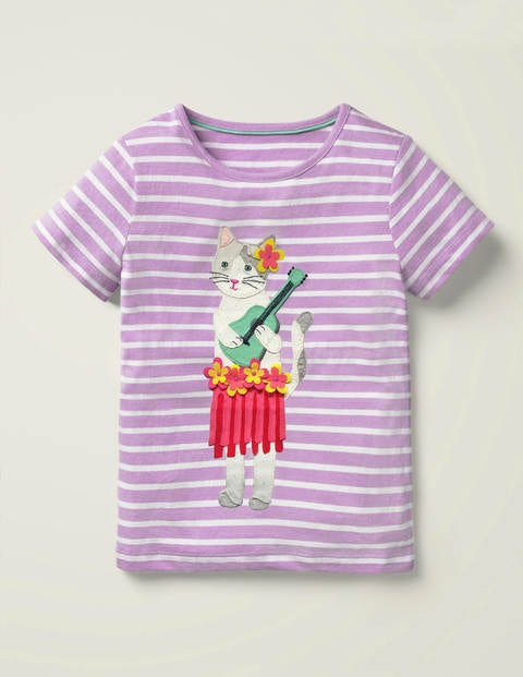 Tassel Appliqué T-shirt - Cool Violet Purple/White Cat