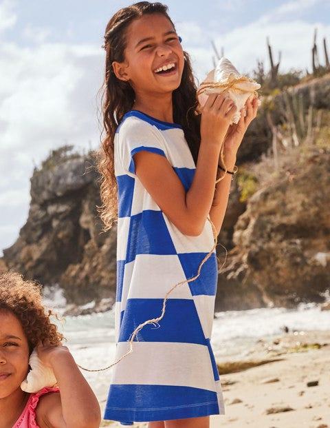 Stripe Jersey Dress - White/Bright Blue