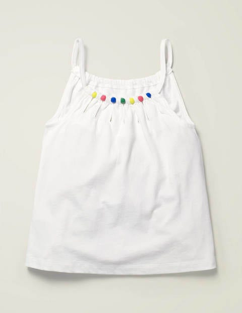 Bead Detail Jersey Top - White