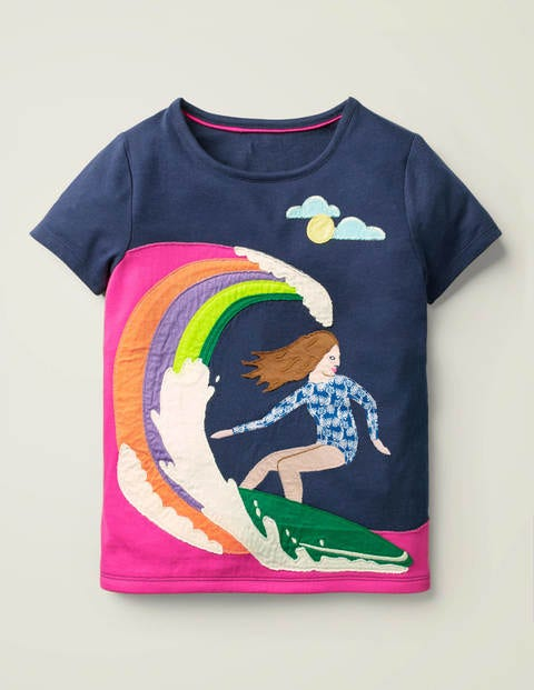 Fun Girl Appliqué T-Shirt - College Navy Surfing