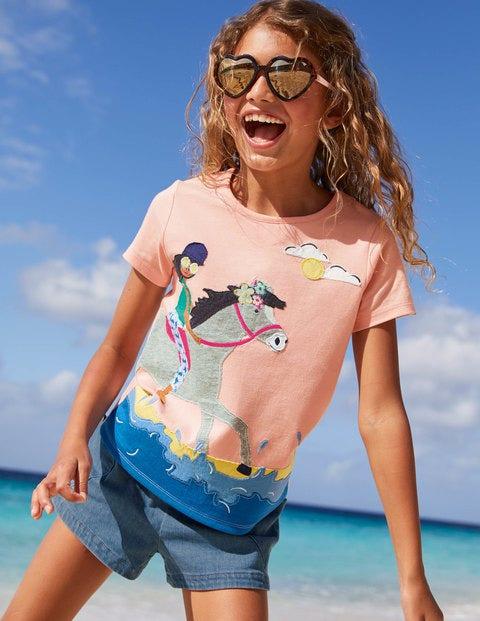 T-shirt fun à appliqué fille