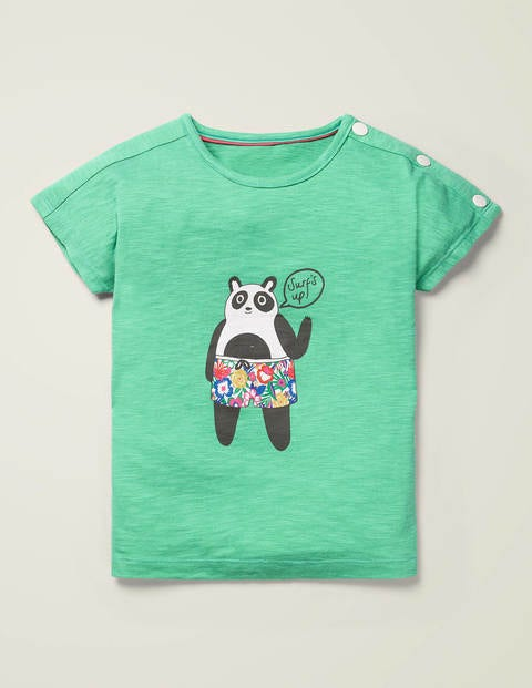 Button Detail Logo T-Shirt - Asparagus Green Panda