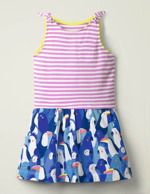 Hotchpotch Bow Jersey Dress - Surfboard Blue Tropical Birds