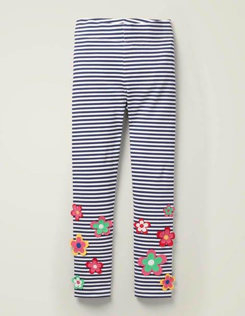 Legging à appliqué floral - Motif floral blanc/bleu marine indigo