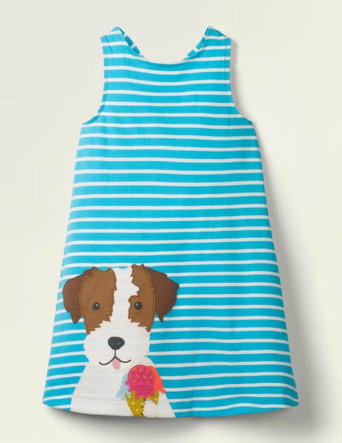 Appliqué Jersey Dress - Corsica Blue/ White Dog