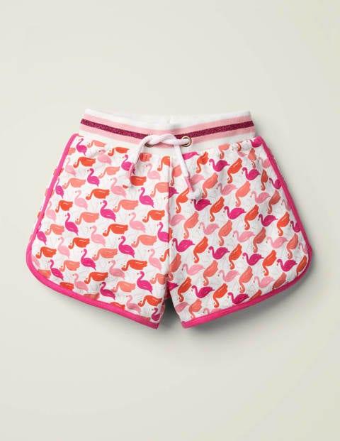 Jerseyshorts mit Glitzertaille - Pinktöne, Flamingos