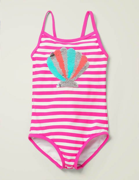 Colour-Change Sequin Swimsuit - Lily Pink/ Ivory Shell