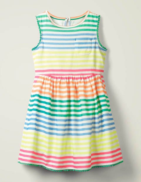 Pocket Detail Jersey Dress - Neon Rainbow Stripe