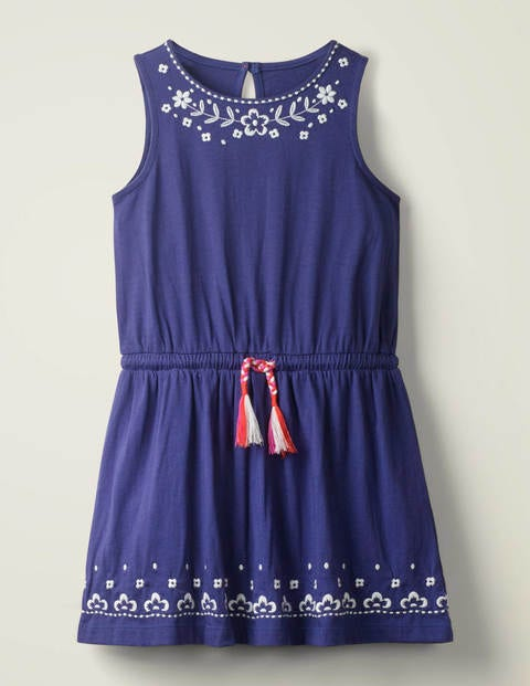 Embroidered Tie-Waist Dress - Indigo Blue