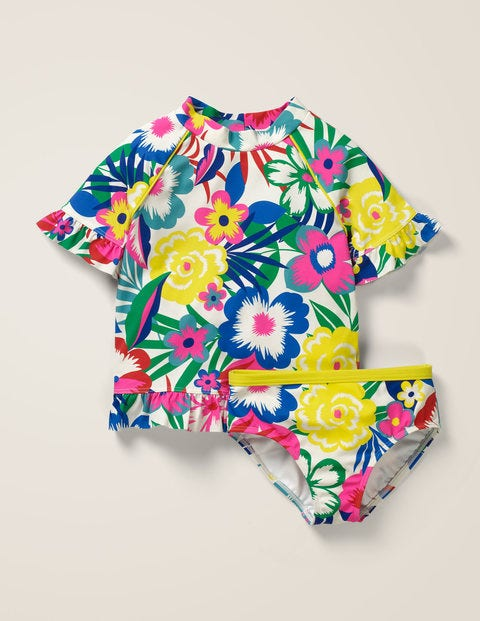 Frilly Rash Vest Set - Multi Tropical Bloom