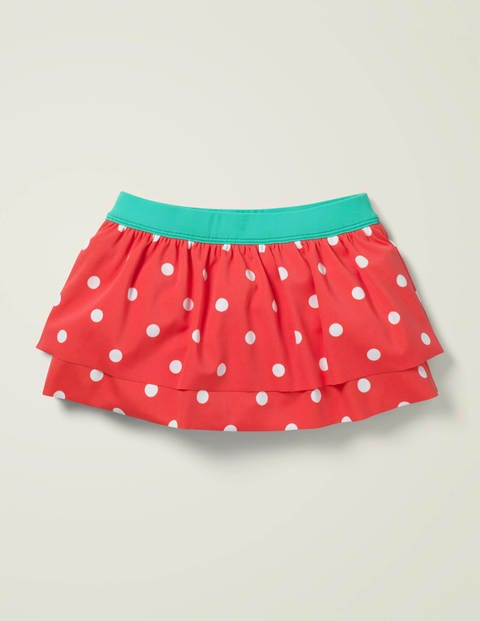 Patterned Swim Skirt - Sunset Red and Ivory Spot