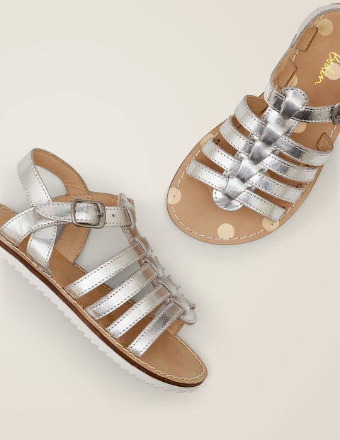 Leather Gladiator Sandals - Silver Metallic