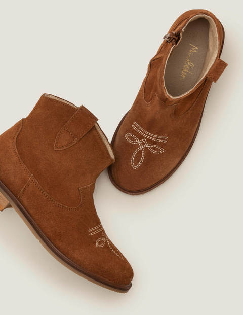 Leather Western Boots - Tan