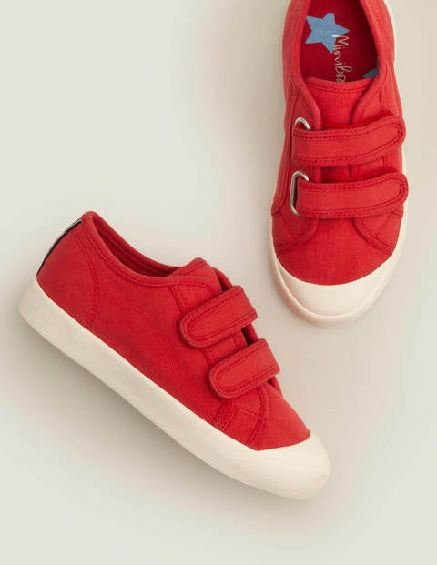 Double Strap Canvas Shoes - Cherry Tomato Red