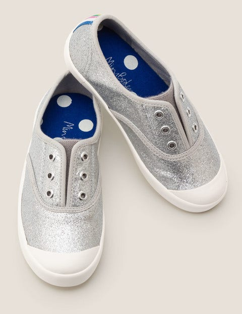 Laceless Canvas Pull-Ons - Silver Glitter