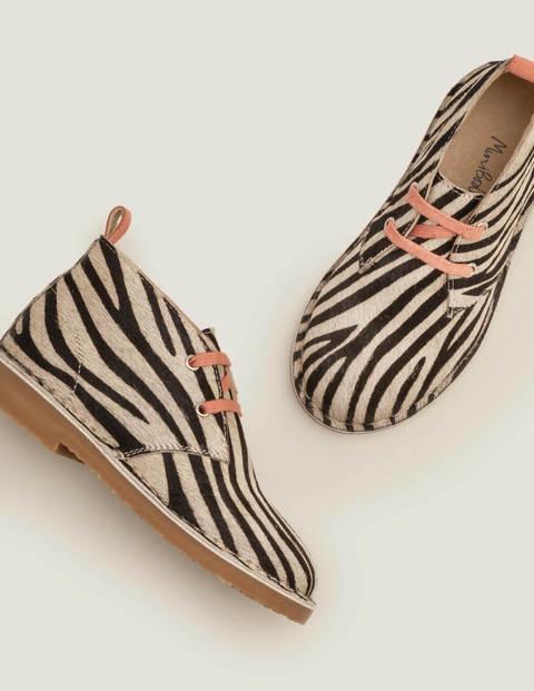 Lace Up Desert Boots - Black/White Zebra