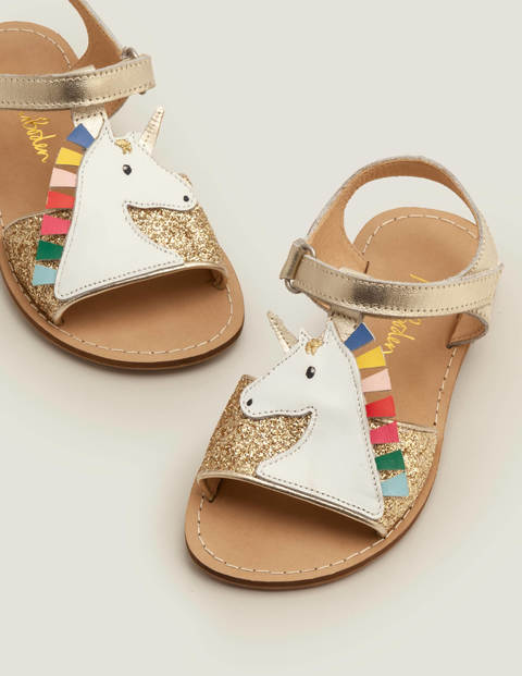 Unicorn Sandals - Gold Glitter