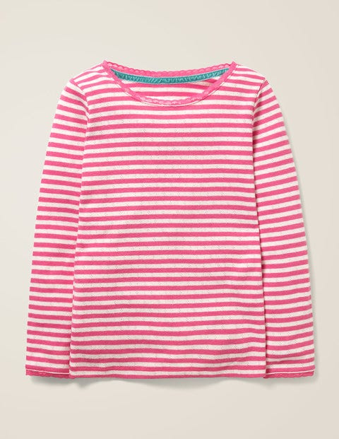 Supersoft Pointelle T-Shirt - Pink Sorbet/Ivory