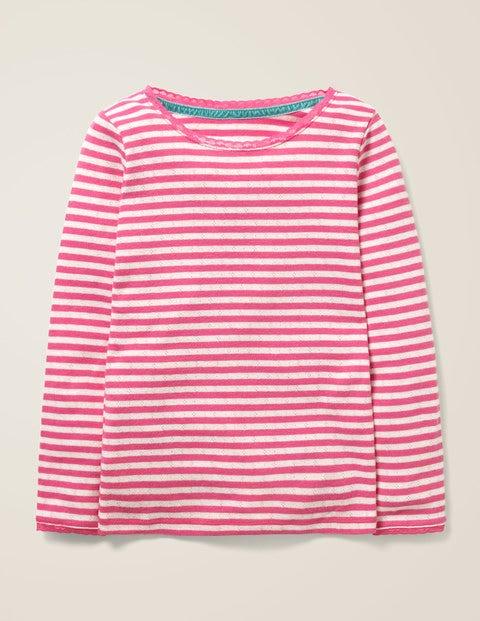 Superweiches Pointelle-T-Shirt - Knallrosa/Naturweiß