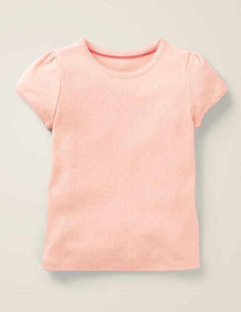 Short-Sleeved Pointelle Top - Provence Dusty Pink