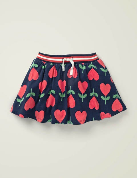 Jersey Skort - College Navy Heart Flower
