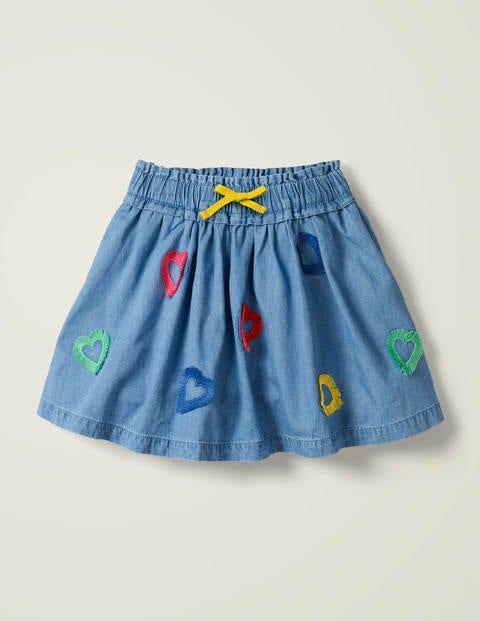 Heart Fringe Detail Skirt - Chambray Hearts