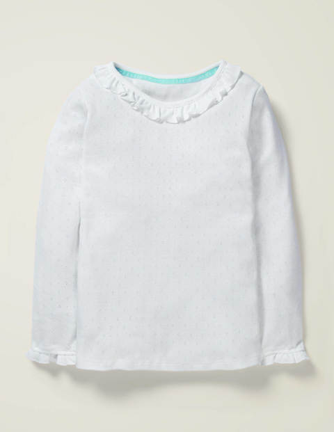 Ruffle Neck Pointelle Top
