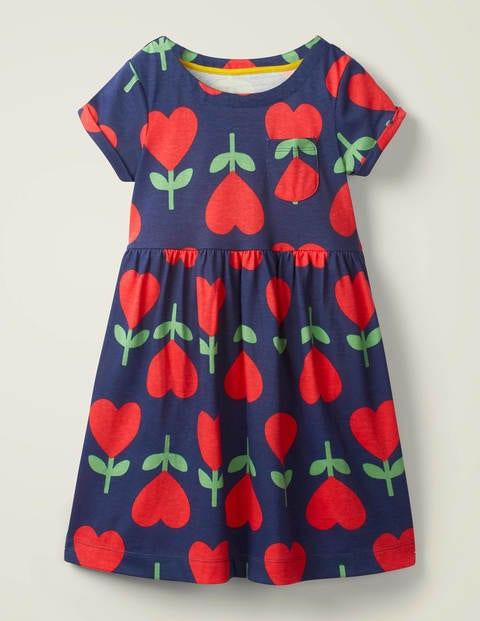 Fun Jersey Dress - College Navy Heart Flower