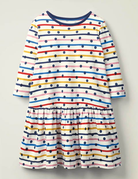 Stripy Jersey Dress - Rainbow Stripe/Navy Spot