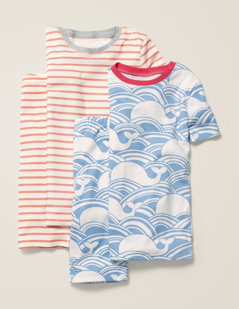 Twin Pack Short John Pyjamas - Light Sky Blue Whale Wave