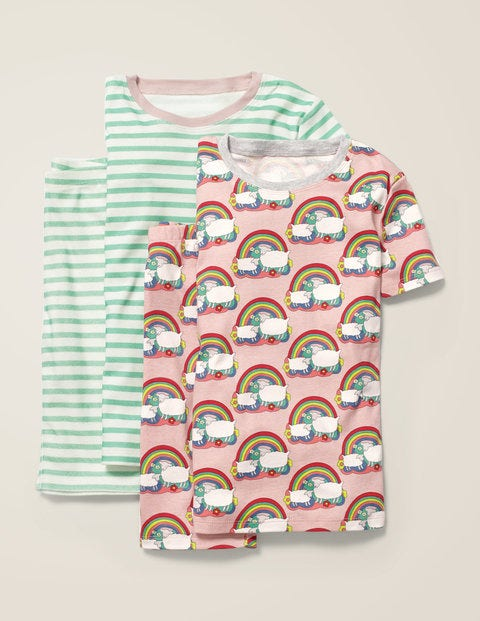 Twin Pack Short John Pyjamas - Provence Pink Rainbow Sheep