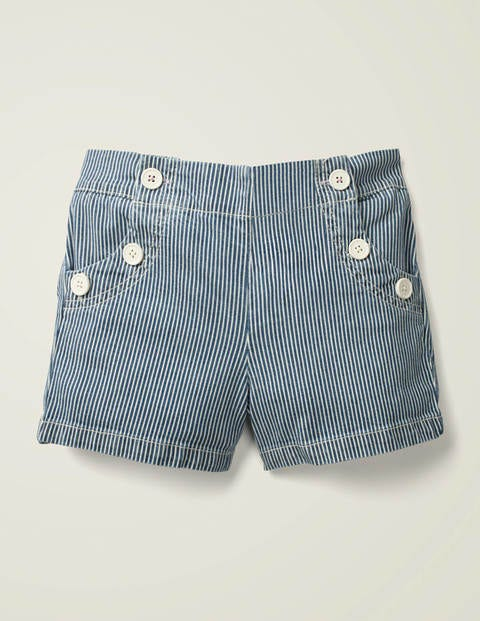 Button Front Sailor Shorts - Indigo Blue Ticking Stripe