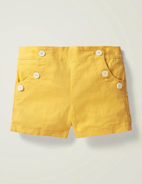 Button Front Sailor Shorts - Daffodil Yellow